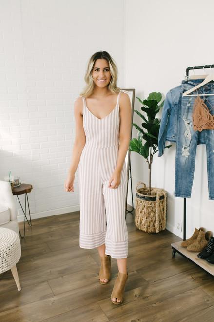 Everly Bombshell Striped Linen Jumpsuit - Tan/White