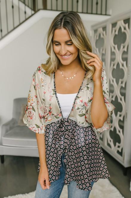 Tie Front Mixed Print Kimono - Taupe Multi
