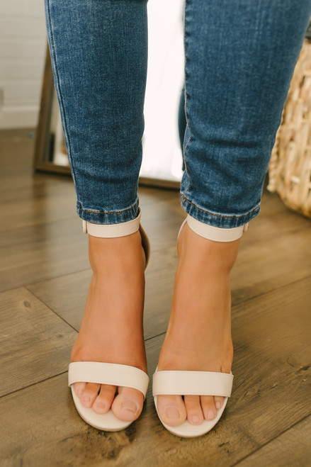 Faux Leather Ankle Strap Block Heels - Nude