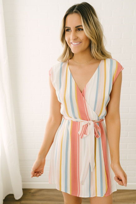 Sadie & Sage Faux Wrap Striped Dress - Pastel Multi