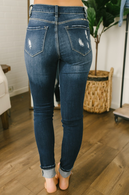 High Waisted 4-Button Distressed Skinny Jeans - Dark Wash