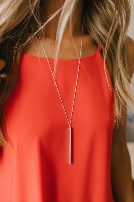 Secret Crush Bar Necklace - Silver