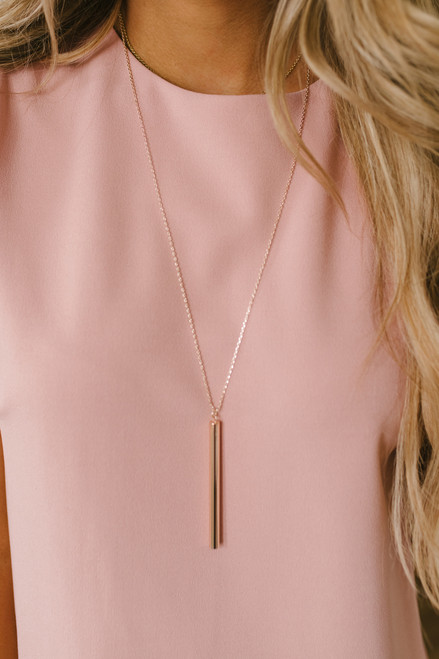 Secret Crush Bar Necklace - Rose Gold