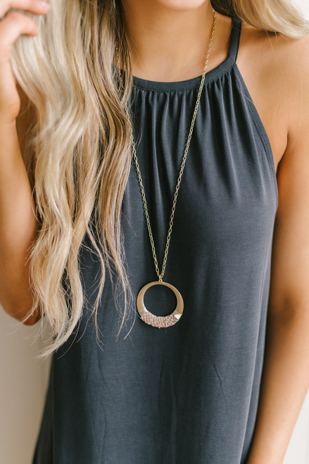 Snakeskin Detail Circle Necklace - Gold/Taupe