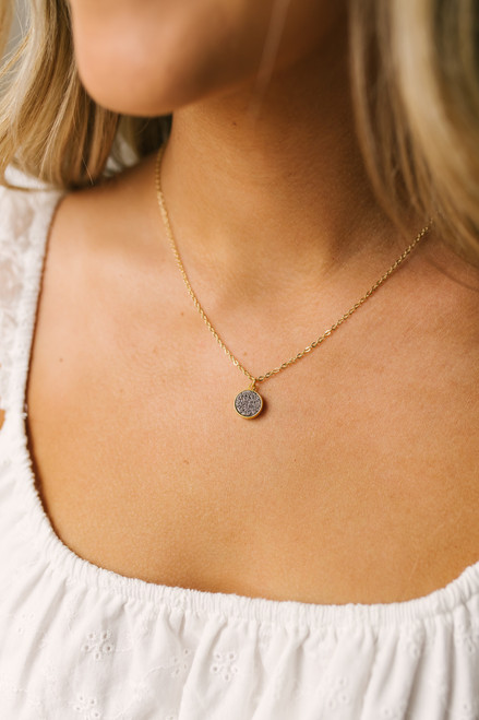 Dainty Druzy Stone Necklace - Gold/Grey - FINAL SALE