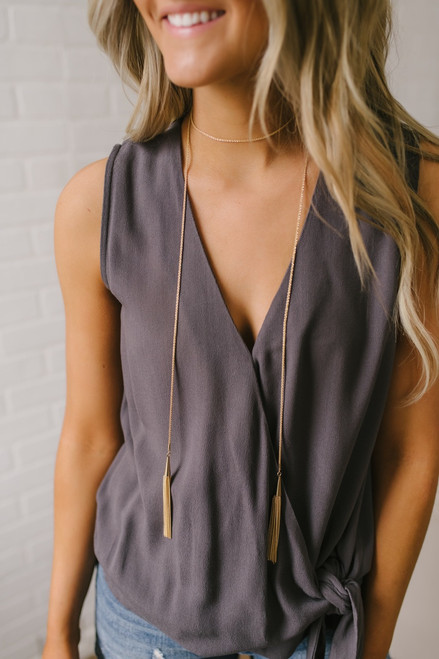 Layered Double Tassel Necklace - Gold