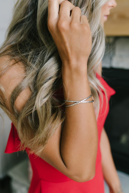 Textured X Bracelet - Silver