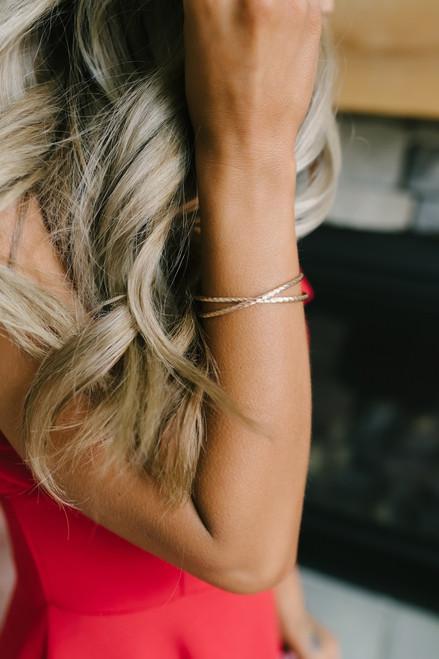 Textured X Bracelet - Rose Gold