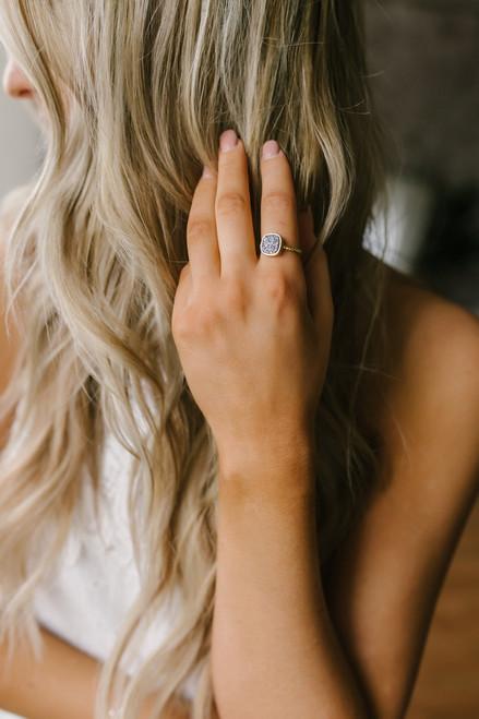 Twisted Druzy Ring - Gold/Grey