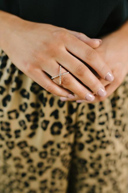 Rhinestone X Ring - Silver