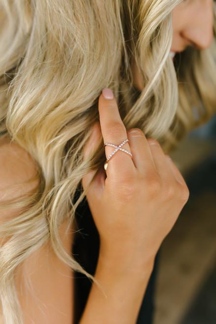 Rhinestone X Ring - Gold