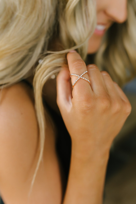 Rhinestone X Ring - Rose Gold
