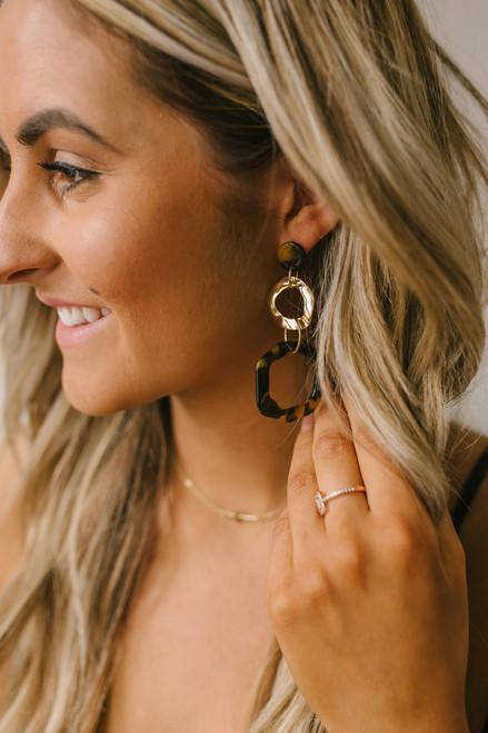 Tortoise Statement Earrings - Brown Multi - FINAL SALE