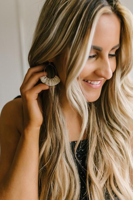 Tassel Statement Earrings - Gold/Ivory