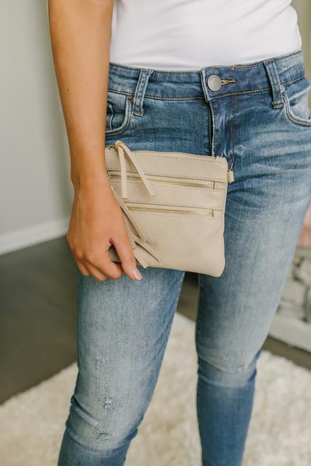 Zipper Detail Wallet Crossbody - Beige