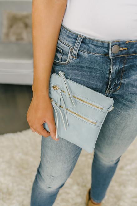 Zipper Detail Wallet Crossbody - Light Blue