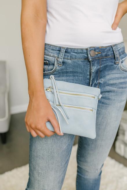 Zipper Detail Wallet Crossbody - Light Blue - FINAL SALE