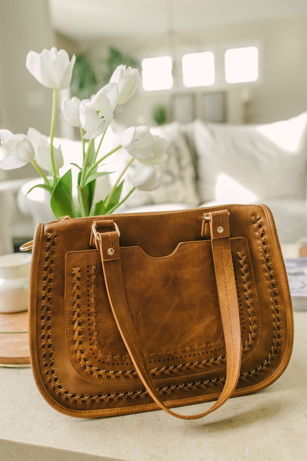 Holland Whipstitch Crossbody Bag - Brown