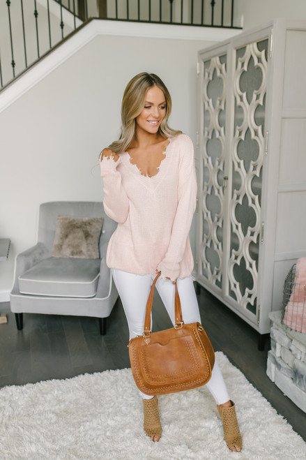 V-Neck Frayed Lightweight Sweater - Light Pink
