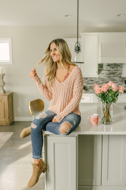 Paradise Falls Open Knit V-Neck Sweater - Pink