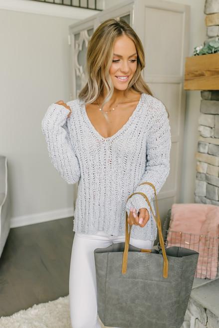 Paradise Falls Open Knit V-Neck Sweater - Light Blue - FINAL SALE