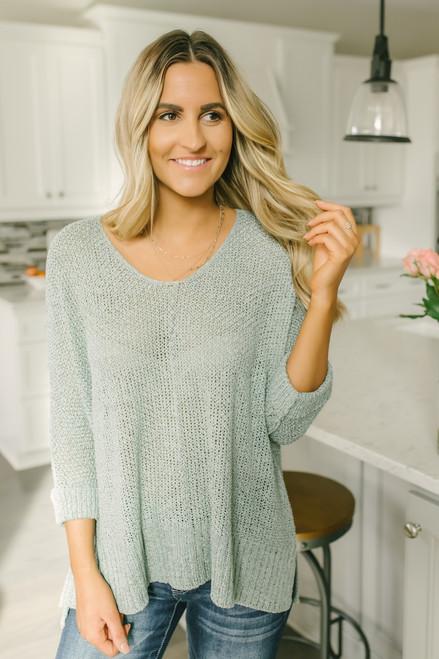 Wandering Soul Open Knit Sweater - Dusty Mint - FINAL SALE