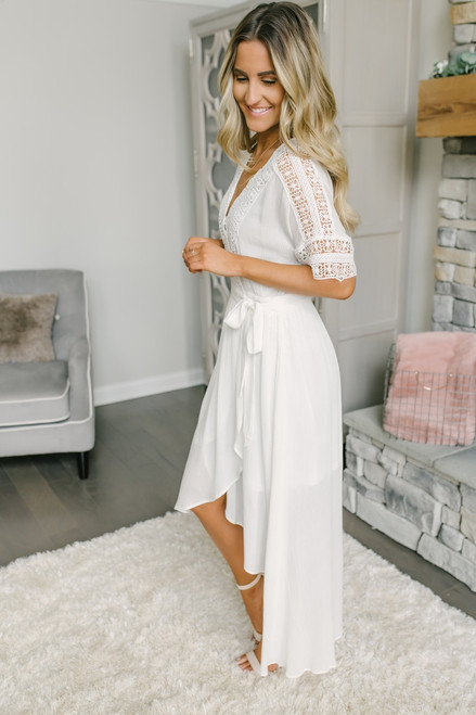 Short Sleeve Crochet High Low Wrap Maxi - Off White