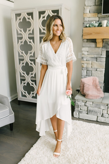 Short Sleeve Crochet High Low Wrap Maxi