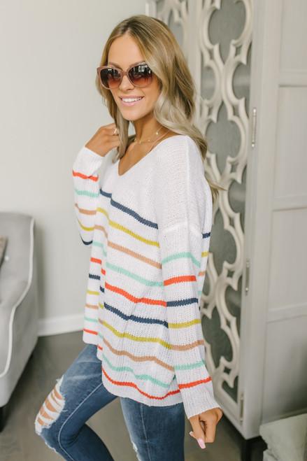 Pixie Dust V-Neck Striped Sweater - White Multi
