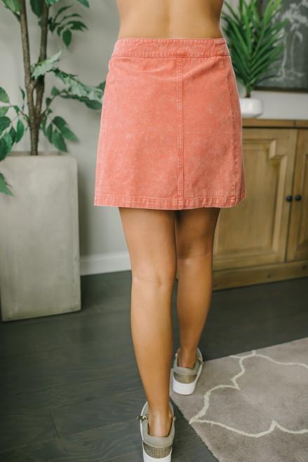 Vintage Wash Button Detail Skirt - Marsala - FINAL SALE
