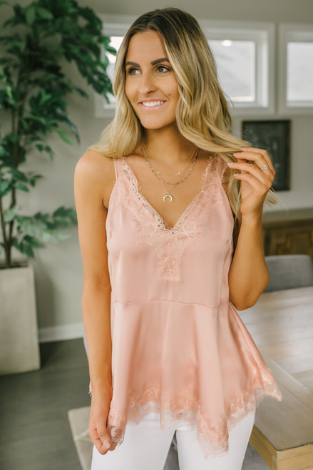 Heart Back Lace Detailed Tank - Blush - FINAL SALE