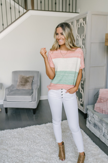 Short Sleeve Colorblock Sweater - Ivory/Green/Peach