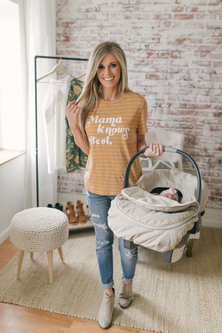 Mama Knows Best Striped Tee - Mustard/White