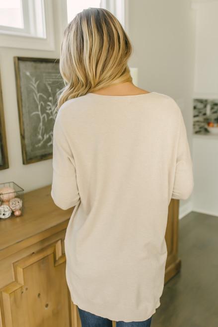 V-Neck Seam Detail Sweater - Oatmeal