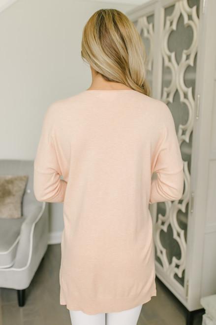 V-Neck Seam Detail Sweater - Peach