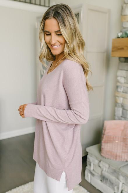 V-Neck Seam Detail Sweater - Lilac