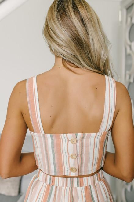 Button Back Striped Linen Crop Top - Pastel Multi - FINAL SALE