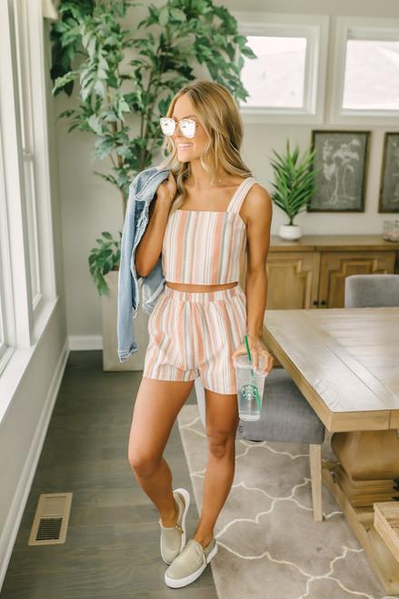 Striped Linen Shorts - Pastel Multi - FINAL SALE