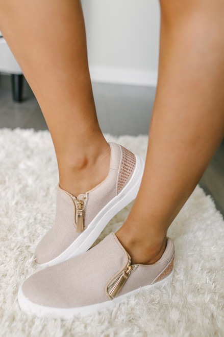 Not Rated Timbre Rhinestone Slip On Sneakers - Rose Gold