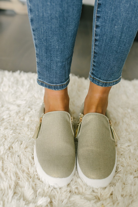Not Rated Timbre Rhinestone Slip On Sneakers - Gold - FINAL SALE