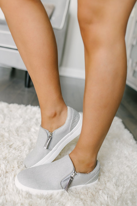 Not Rated Timbre Rhinestone Slip On Sneakers - Silver