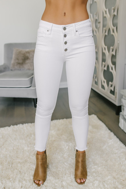 High Rise 4-Button Skinny Jeans - White