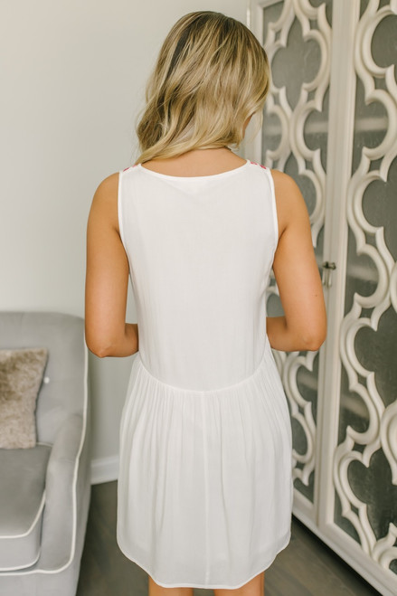 Button Detail Embroidered Dress - Off White Multi