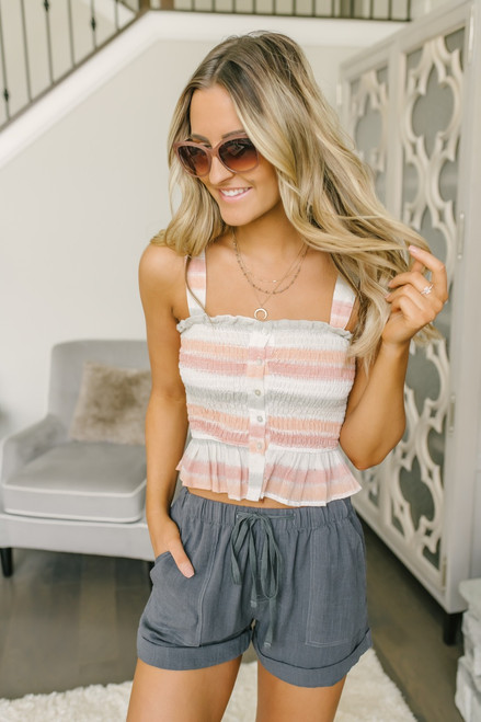 Ruffle Detail Smocked Crop Top - Pastel Multi - FINAL SALE