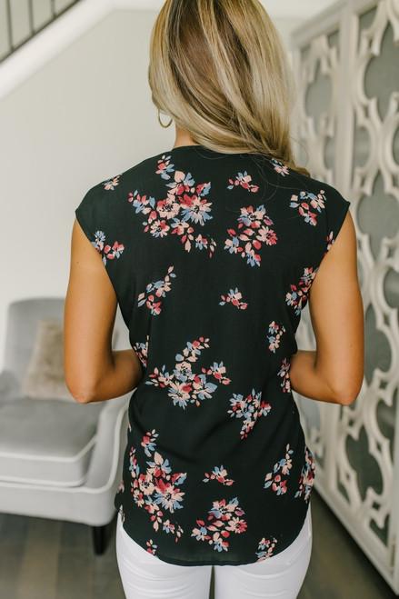 Cap Sleeve Surplice Floral Top - Black Multi