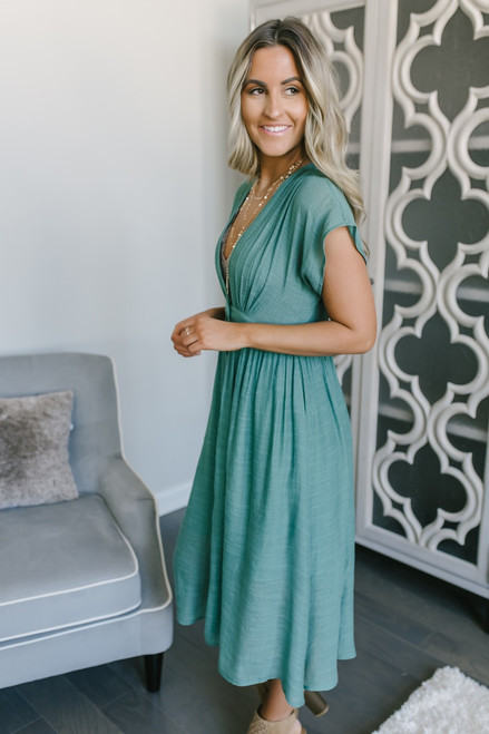 Short Sleeve Button Down Midi Dress - Sage