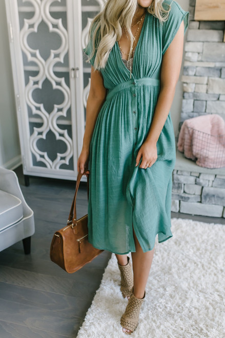 Short Sleeve Button Down Midi Dress - Sage