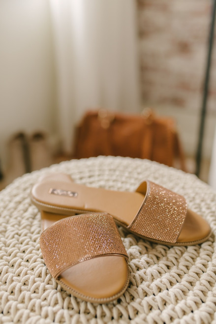 Champagne Shores Rhinestone Slides - Rose Gold