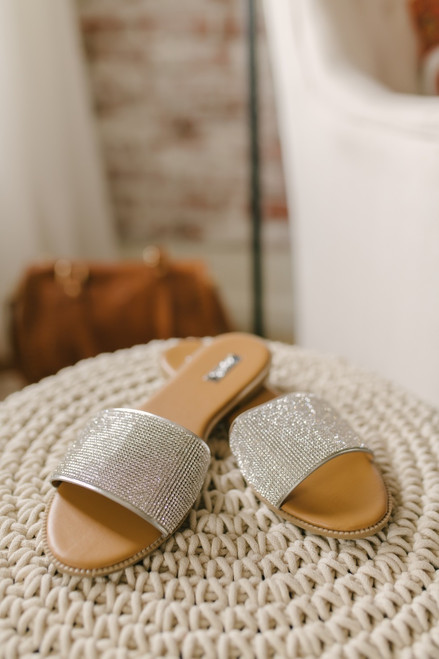Champagne Shores Rhinestone Slides - Silver - FINAL SALE