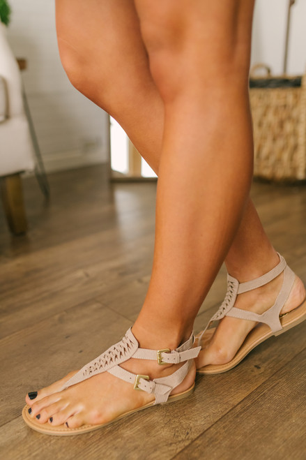 Beach Town Perforated Sandals - Taupe